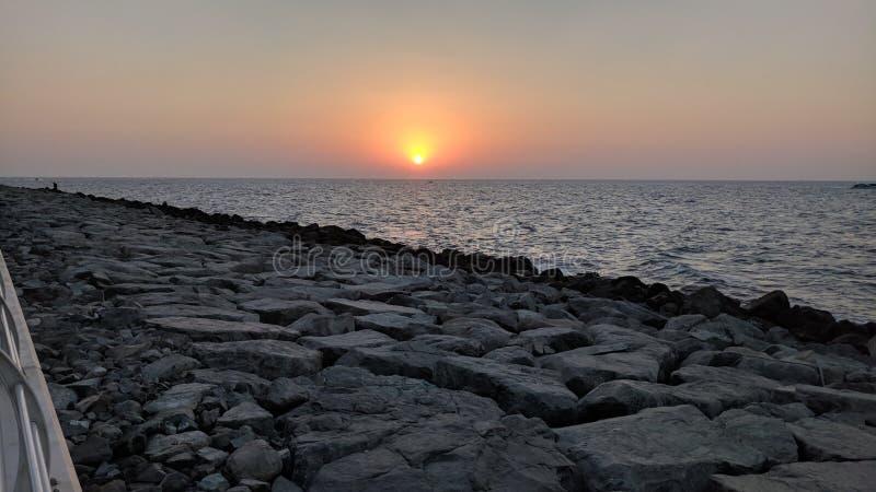 Zonsondergang op de Palm dichtbij Atlantis Doubai royalty-vrije stock afbeelding