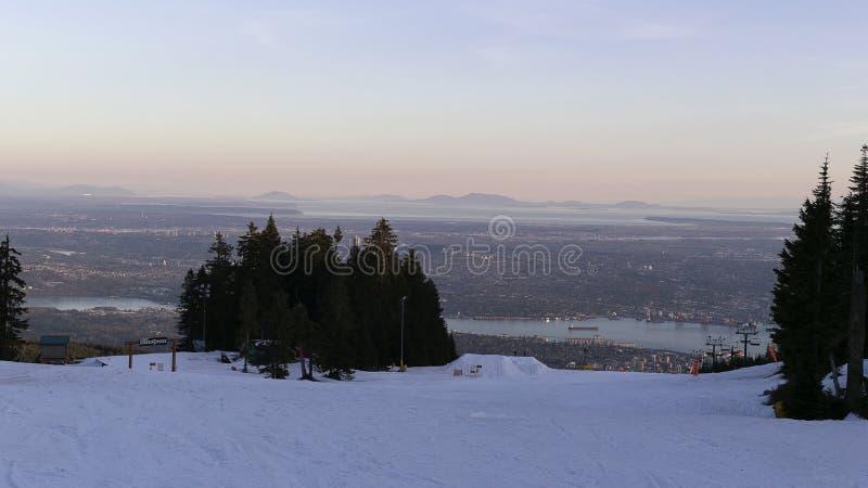 Zonsondergang op de stad van Vancouver, Brits Colombia, Canada stock afbeelding