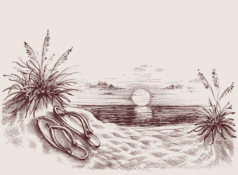 Zonsondergang op de strandtekening vector illustratie