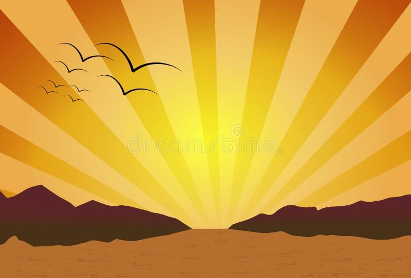 Zonsondergang op de woestijn stock foto
