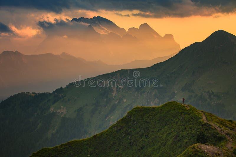 Zonsondergang op Dolomiet royalty-vrije stock foto's