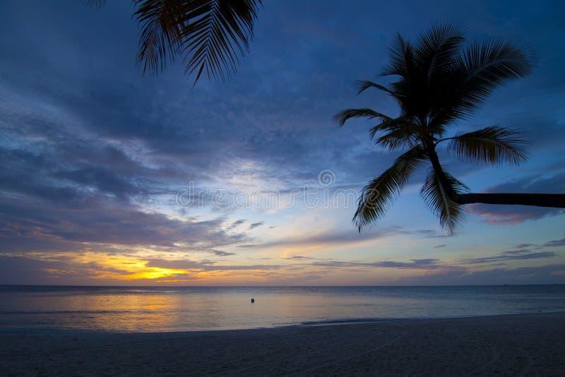 Zonsondergang op een desserteiland de Maldiven vector illustratie