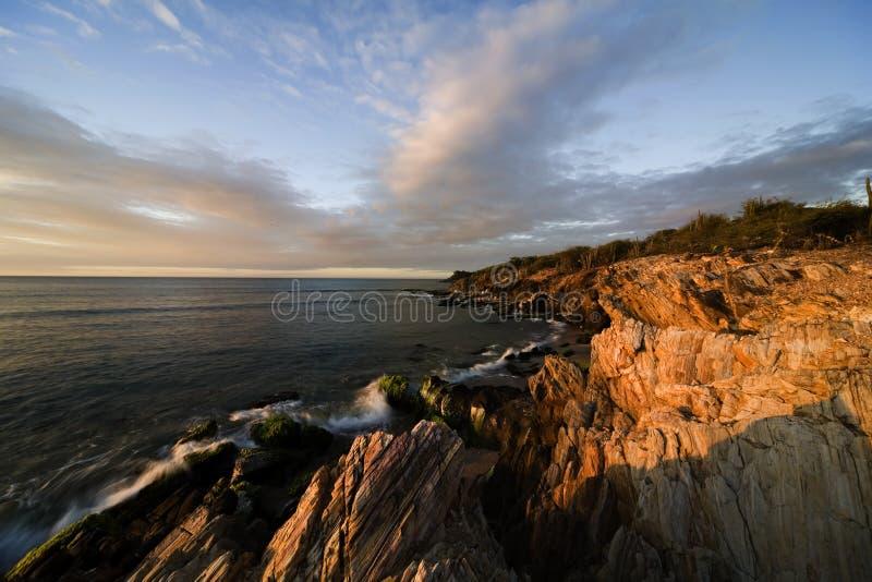 Zonsondergang op eiland Margarita stock afbeeldingen