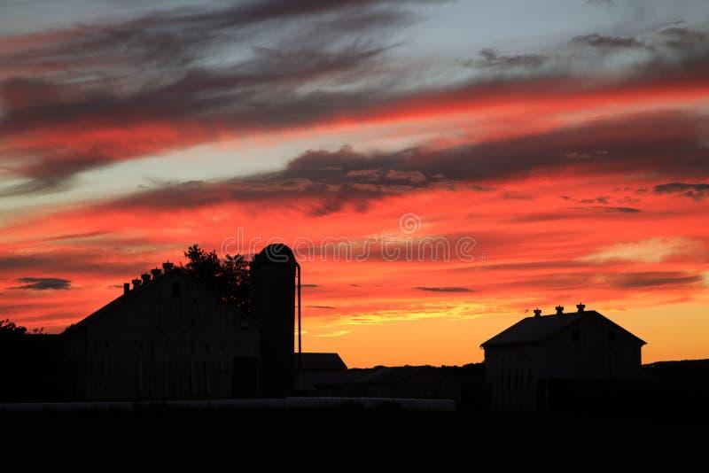 Zonsondergang op het landbouwbedrijf stock afbeelding
