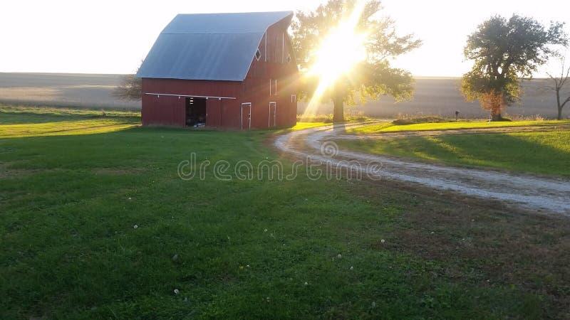 Zonsondergang op het landbouwbedrijf royalty-vrije stock afbeelding