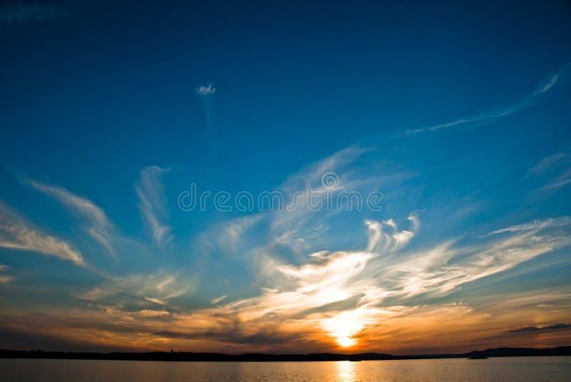 Zonsondergang op het Meer van Konstanz royalty-vrije stock fotografie