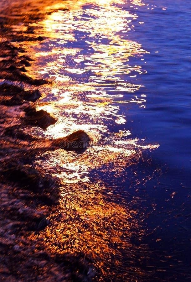 Zonsondergang op het overzeese onkruid stock fotografie