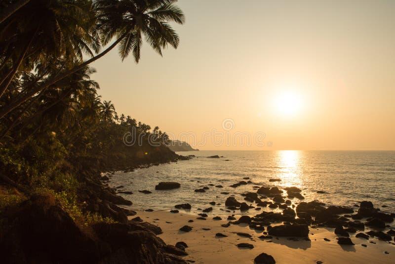Zonsondergang op het tropische strand India stock afbeeldingen