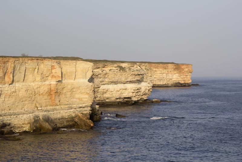 Zonsondergang op Kaap Tarkhankut, de Krim stock fotografie