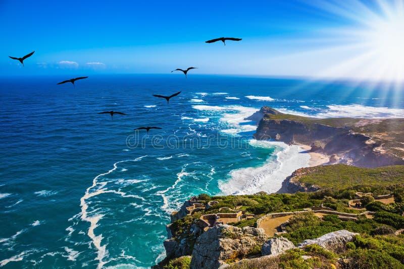 Zonsondergang op Kaap van Goede Hoop stock afbeeldingen