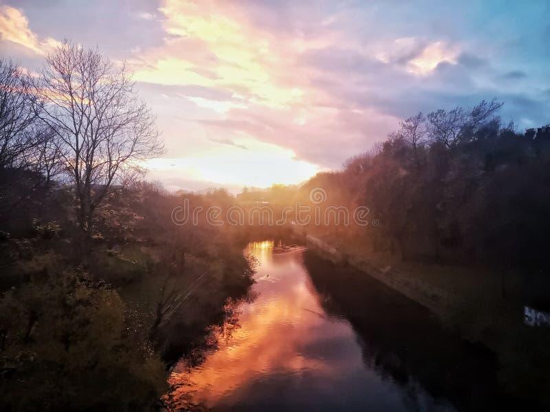 Zonsondergang op Leith royalty-vrije stock foto