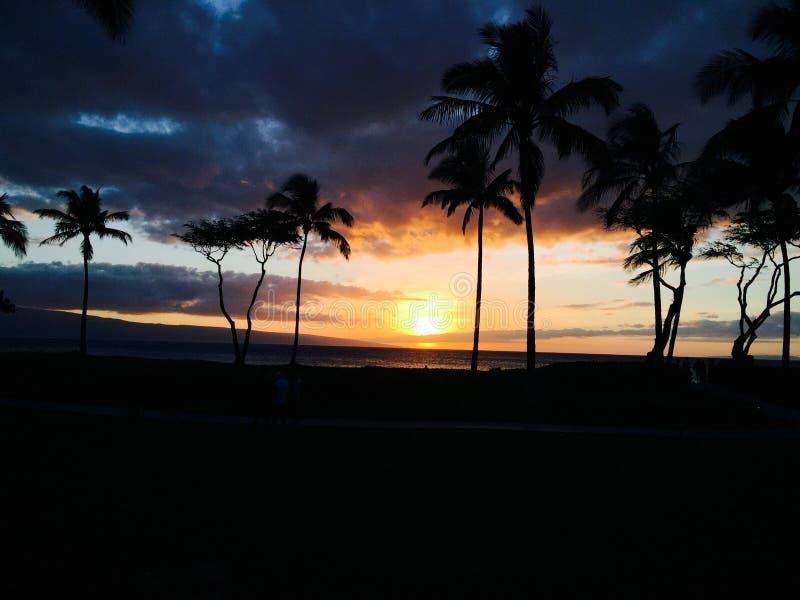 Zonsondergang op Maui royalty-vrije stock foto
