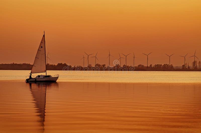 Zonsondergang op Meer Dummer stock foto