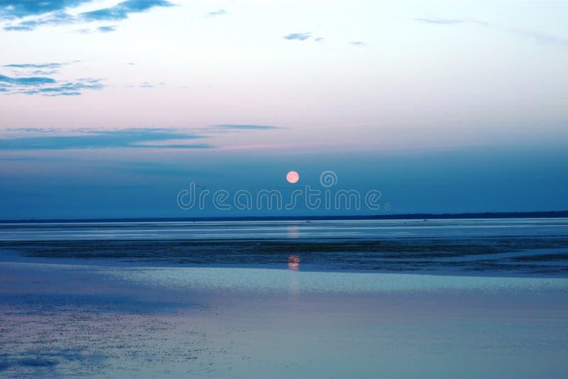 Zonsondergang op Meer Ladoga stock foto's