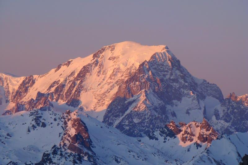 Zonsondergang op Mont Blanc royalty-vrije stock afbeeldingen