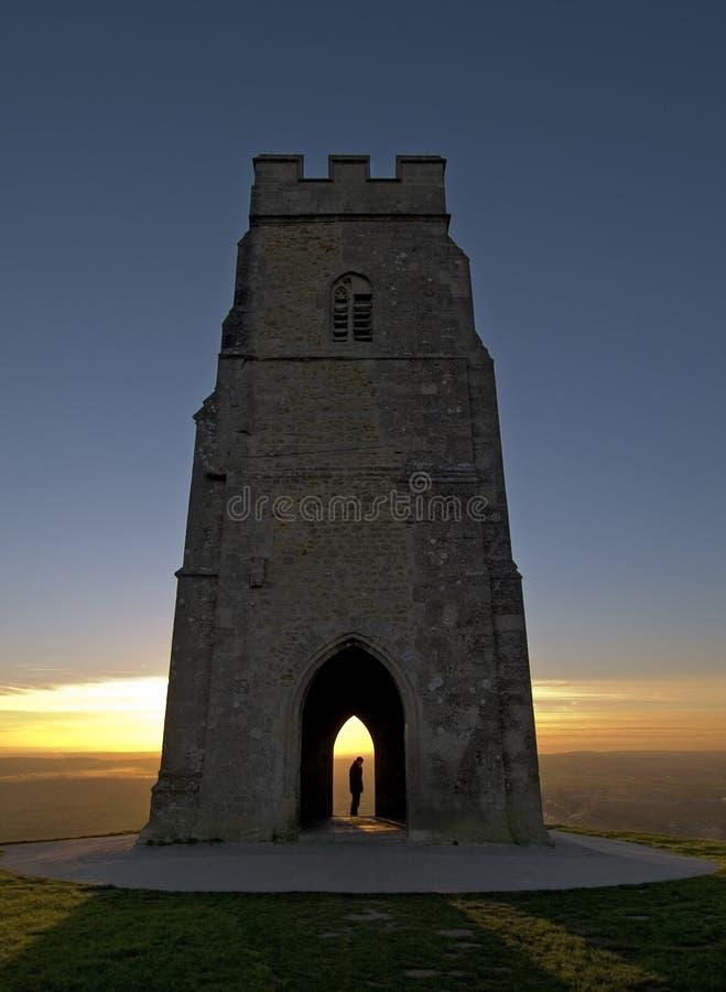 Zonsondergang op Piek Glastonbury royalty-vrije stock afbeeldingen