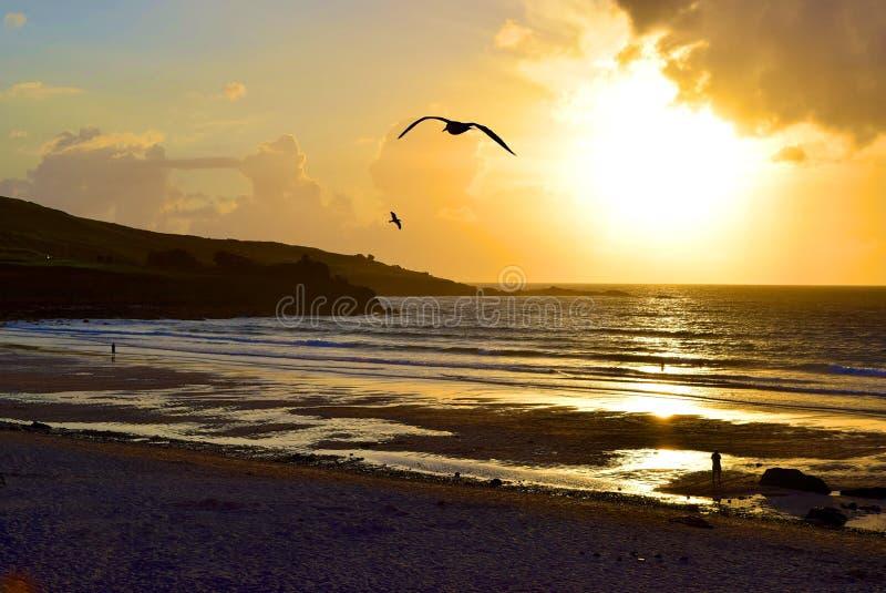 Zonsondergang op Porthmeor-Strand royalty-vrije stock foto