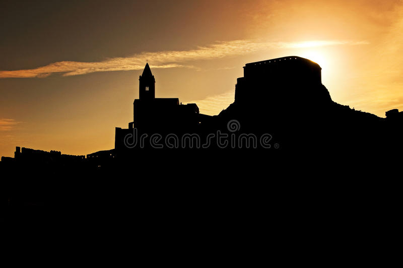 Zonsondergang op Portovenere royalty-vrije stock afbeelding