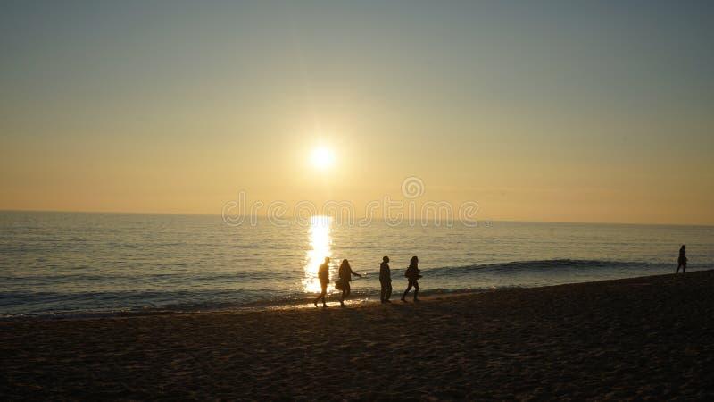 Zonsondergang op Praia DE Faro royalty-vrije stock foto's