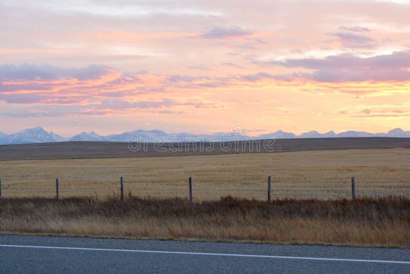 Zonsondergang op Praries stock foto's