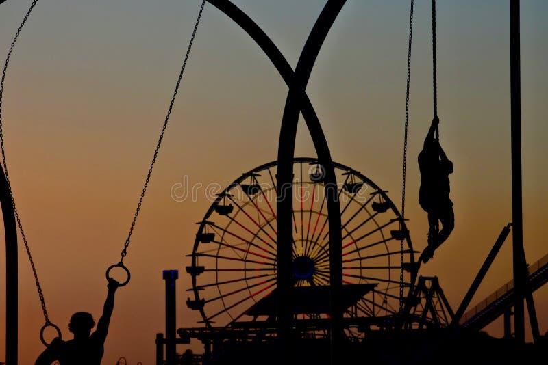 Zonsondergang op Santa Monica Pier, Californië, de V.S. royalty-vrije stock fotografie