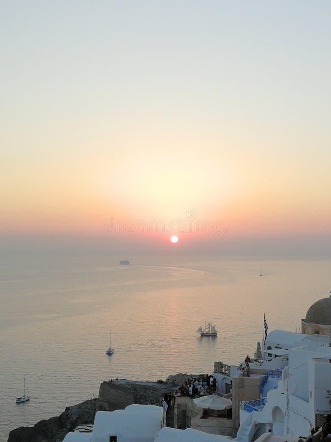 Zonsondergang op Santorini royalty-vrije stock afbeelding