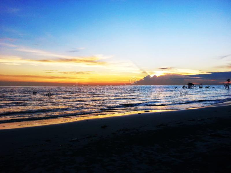 Zonsondergang op Tanjung Sepat royalty-vrije stock afbeelding