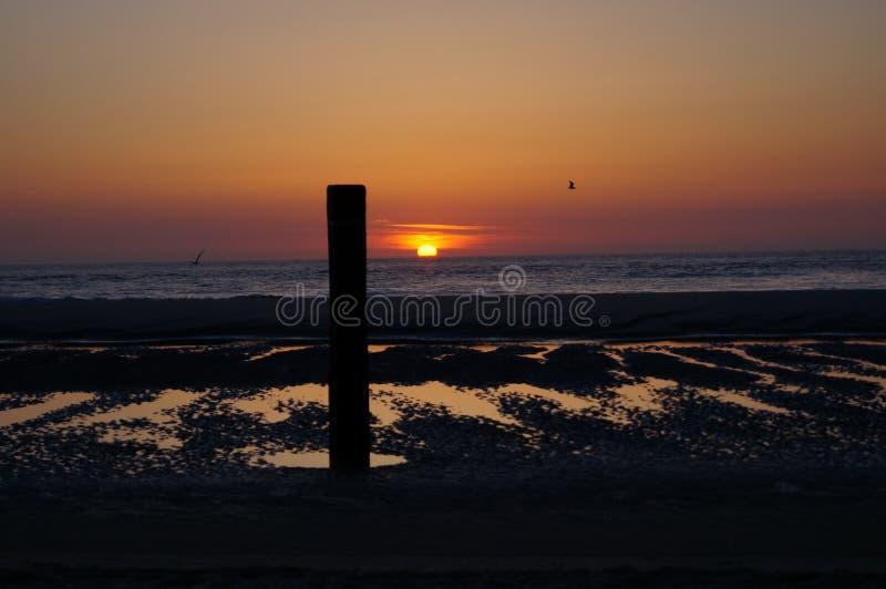 Zonsondergang op Texel stock foto
