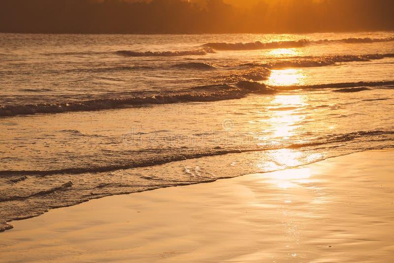 Zonsondergang op tropisch strand in Sri Lanka - het gouden die zeewater van kleurengolven door de zon wordt verlicht royalty-vrije stock fotografie