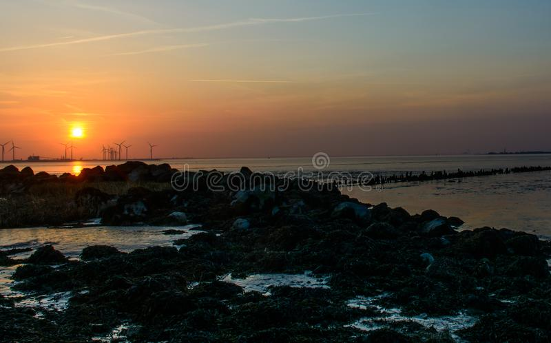 Zonsondergang op zee stock foto's