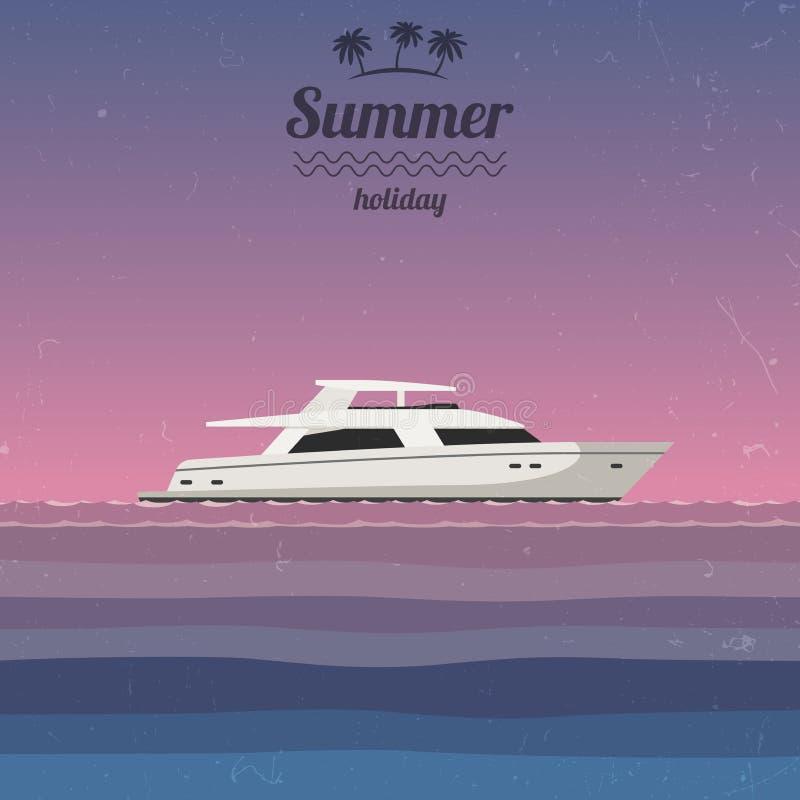 Zonsondergang op zee met een jacht vector illustratie