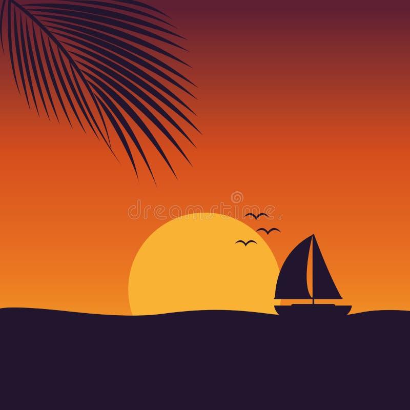 Zonsondergang op zee met landschap van de jacht het mariene aard met zeilboot en palmblad stock illustratie