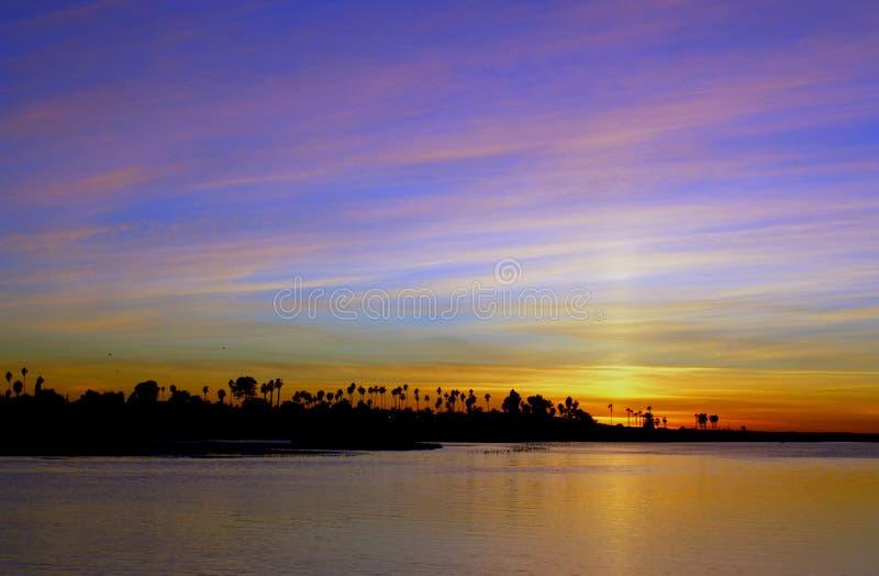 Zonsondergang, Opdrachtbaai, San Diego, Californië royalty-vrije stock fotografie