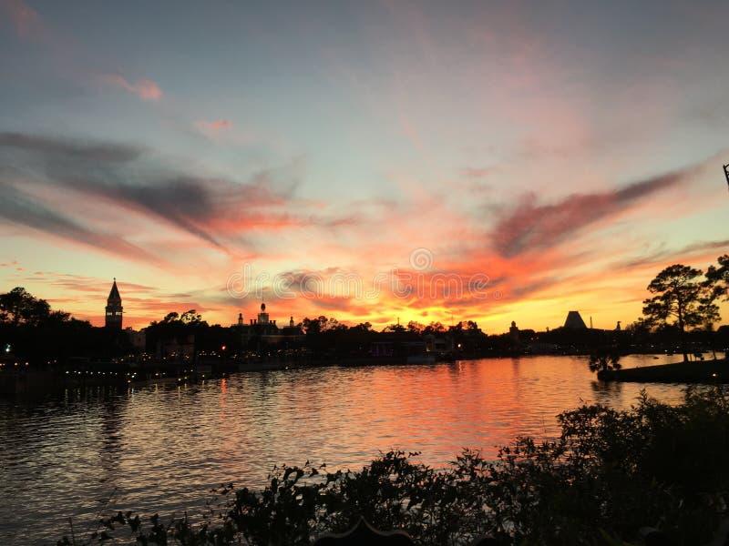 Zonsondergang in Orlando stock afbeelding