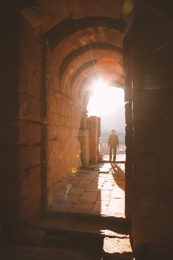 Zonsondergang in oude stad - Petra stock afbeeldingen