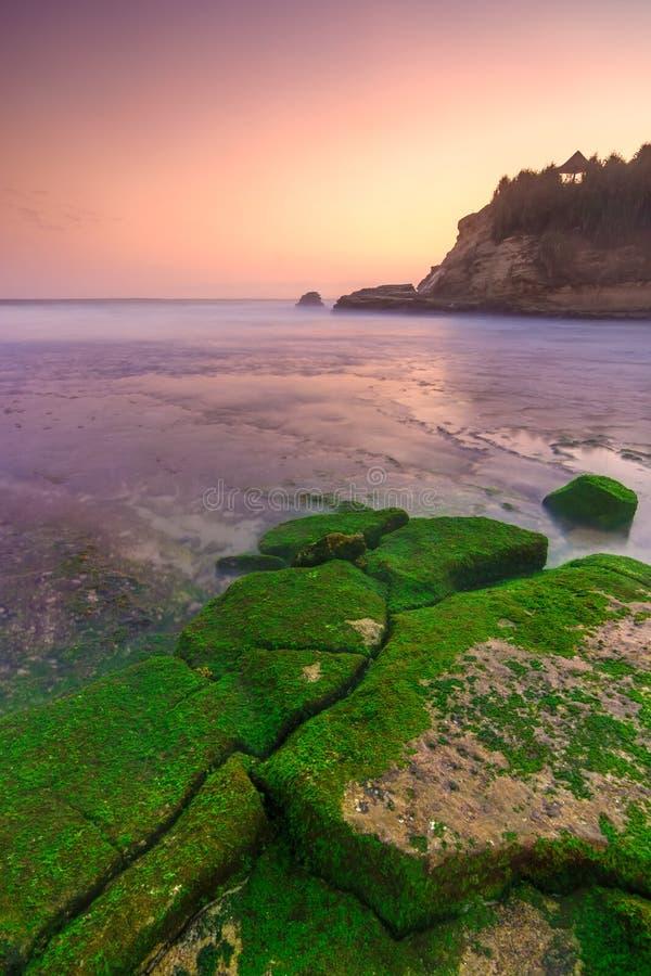 Zonsondergang over bemost rots en strand Indonesië stock fotografie