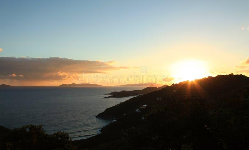 Zonsondergang over Brouwer Bay in St Thomas royalty-vrije stock fotografie