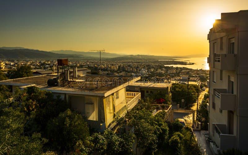 Zonsondergang over Chania, Kreta, Griekse Eilanden, Griekenland, Europea stock afbeeldingen