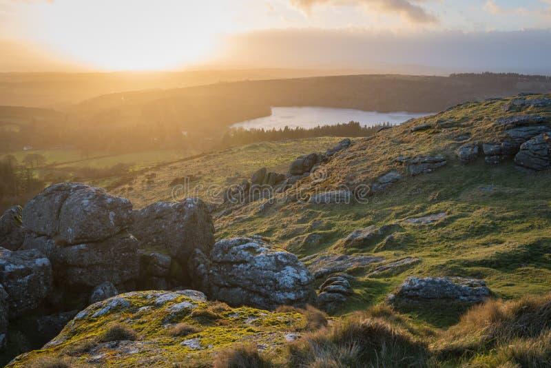 Zonsondergang over Dartmoor royalty-vrije stock foto's