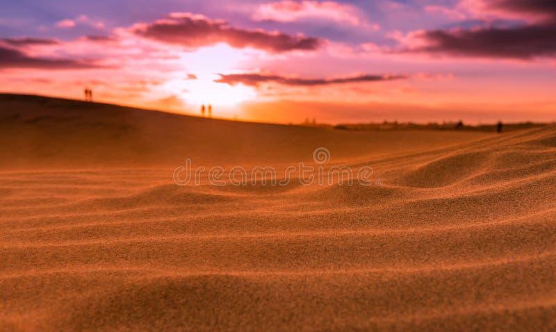 Zonsondergang over de duinen van Maspalomas Eiland Gran Canaria stock foto