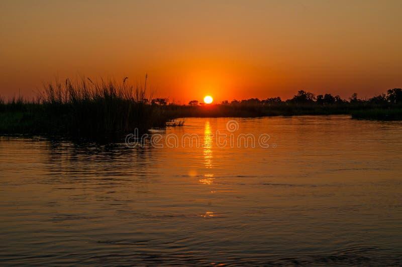 Zonsondergang over de Okavango-Delta, Botswana stock fotografie