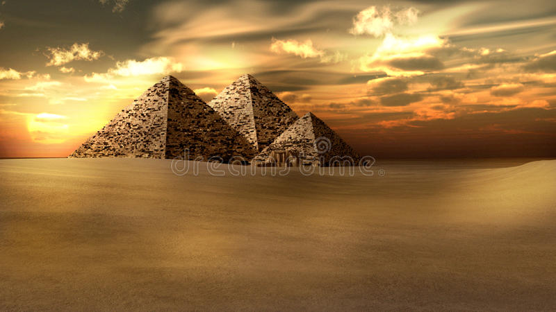 Zonsondergang over de piramides royalty-vrije illustratie
