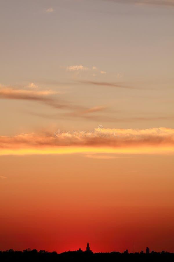 Zonsondergang over de Stad van New York stock foto