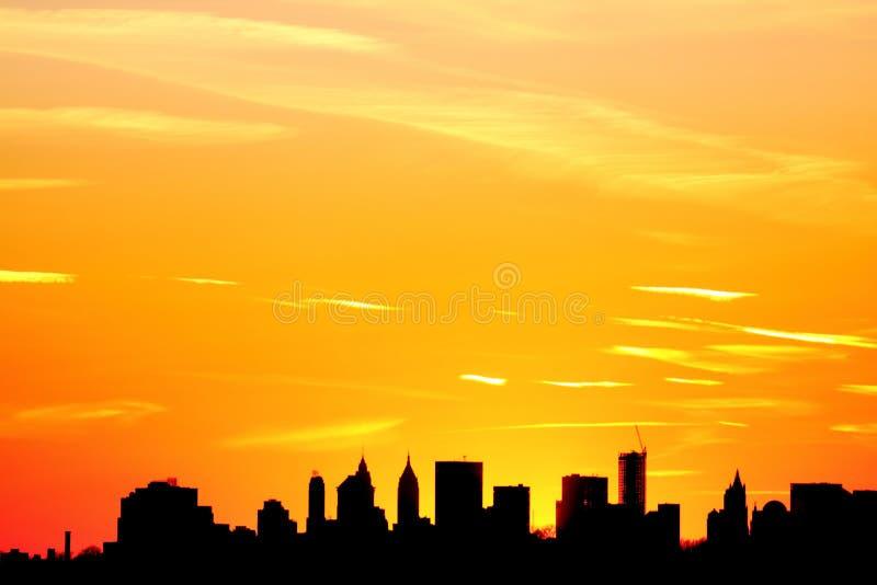 Zonsondergang over de Stad van New York royalty-vrije stock fotografie