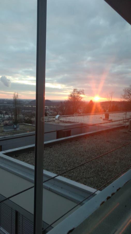 Zonsondergang over Deggendorf royalty-vrije stock afbeeldingen