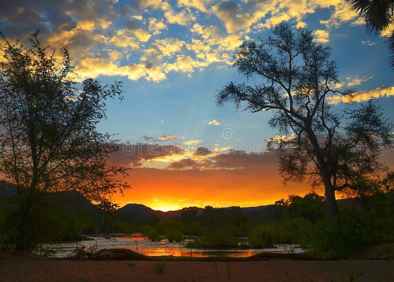 Zonsondergang over een rivier met bomen royalty-vrije stock afbeeldingen