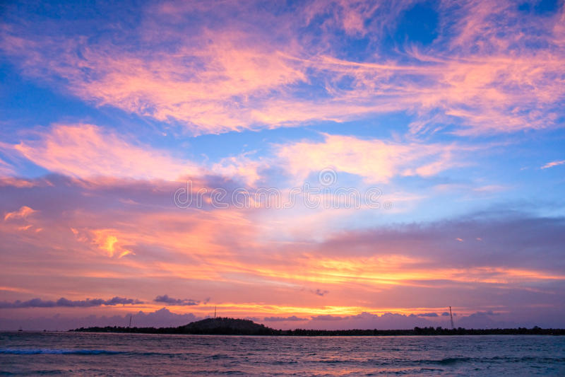 Zonsondergang over Gili Trawangan, Indonesië. stock foto