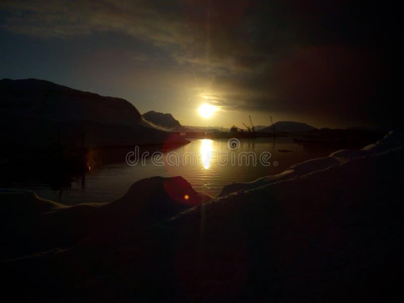 Zonsondergang over het Landschap van Groenland stock fotografie