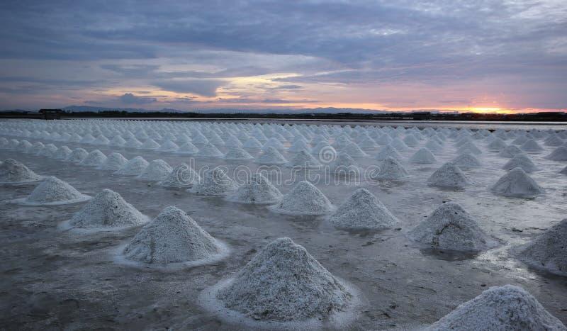 Zonsondergang over het zoute landbouwbedrijf stock foto's