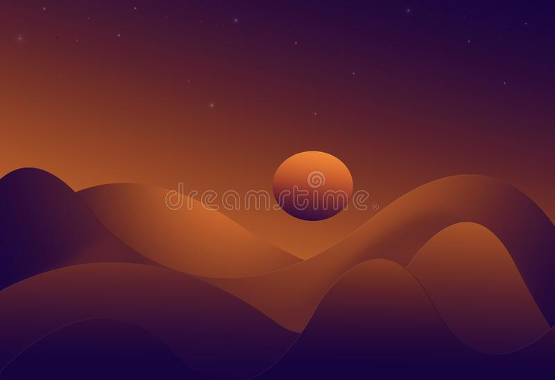 Zonsondergang over heuvels royalty-vrije illustratie